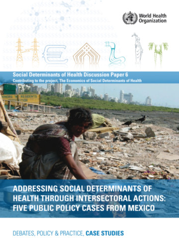 Addressing Social Determinants of Health Through Intersectoral Actions
