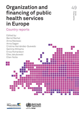 Organization and Financing of Public Health Services in Europe